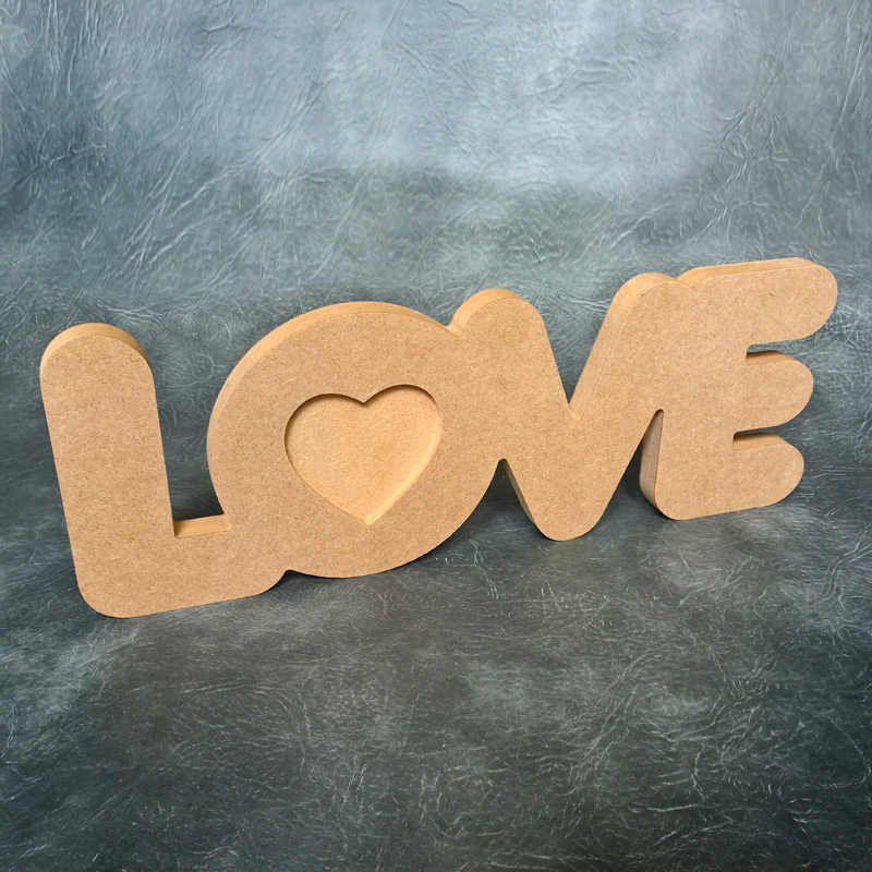 Freestanding LOVE Word with Heart - 18mm Thick
