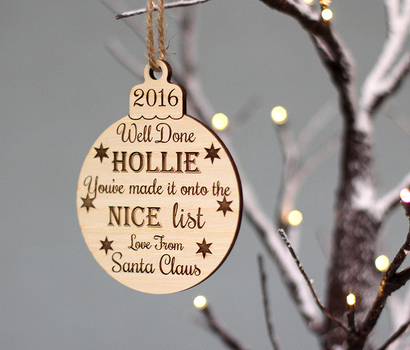 Personalised Santas Nice List Baubles