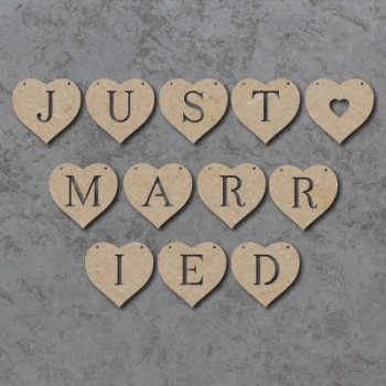 Just Married Heart Bunting Pack