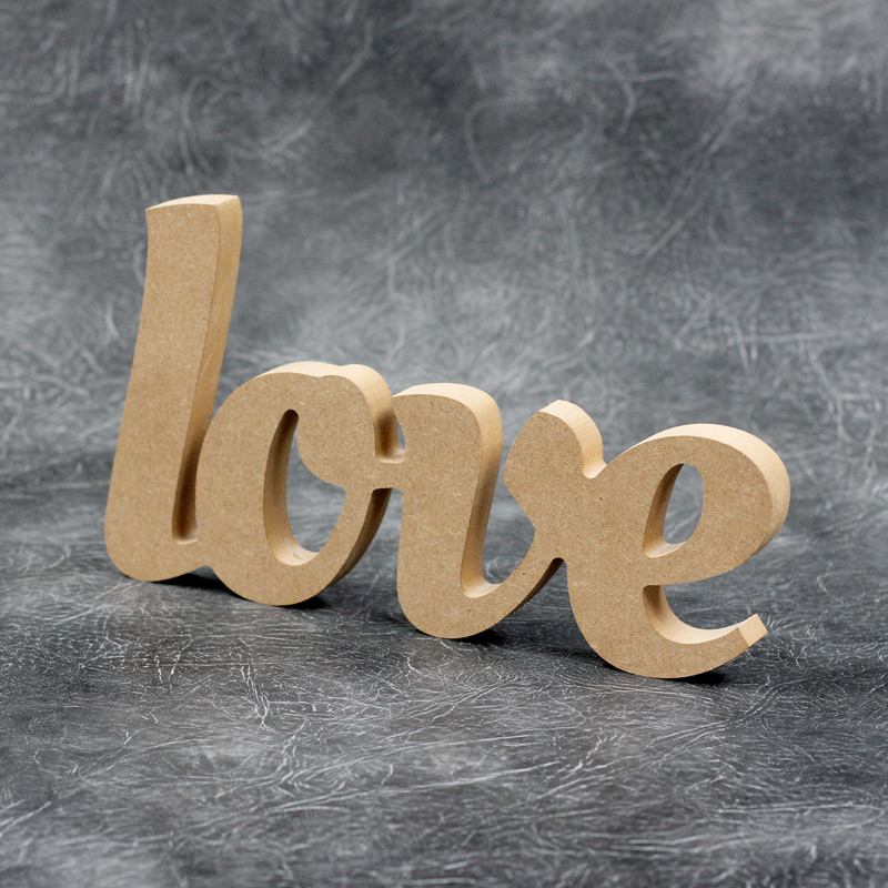 Love Word Swirly Font - Freestanding Sign 18mm Thick