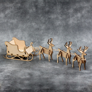 3D Reindeer and Santa Sleigh Craft Kit