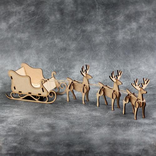 3D Reindeer and Santa Sleigh Craft Kit