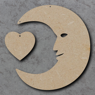 Moon with Heart Wooden Craft Shapes