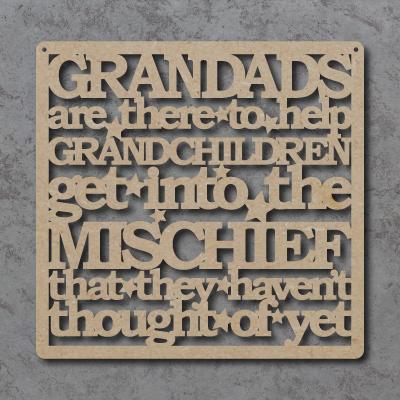 Grandads Help Grandchildren Get Into Mischief Craft Sign