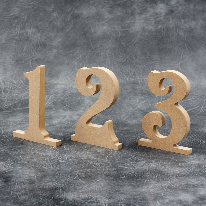 Freestanding Table Numbers (Victorian font) 18mm Thick