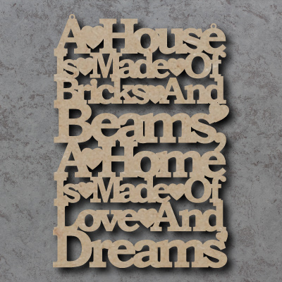 A House is Made Of Bricks and Beams Craft Sign