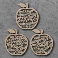 Welsh - Worlds Best Teacher Words Apple Craft Shapes