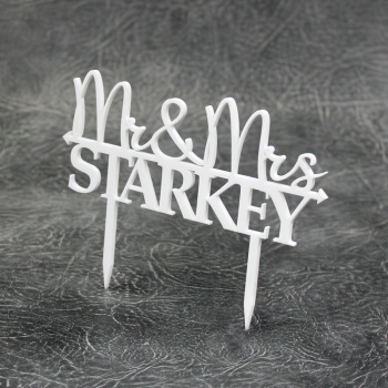 Mr & Mrs Personalised Acrylic Cake Topper