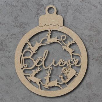 Believe Bauble Sign with Sleigh & Reindeer