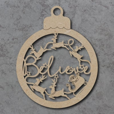 Believe Bauble with Reindeer and Sleigh Craft Sign