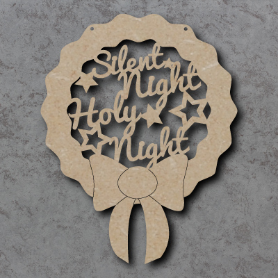 Silent Night Holy Night Wreath Sign