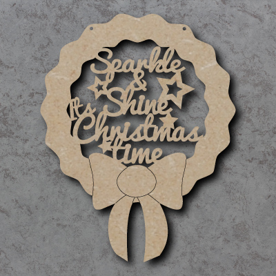 Sparkle & Shine Christmas Time Wreath Sign