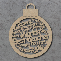 World's Best Teacher Words Bauble Craft Shape