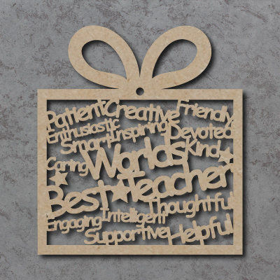 World's Best Teacher Words Present Craft Shape