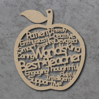 Worlds Best Teacher Words Apple Craft Shape