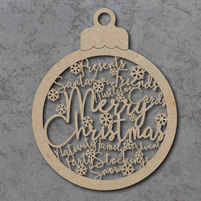 Merry Christmas Bauble Sign with Snowflakes