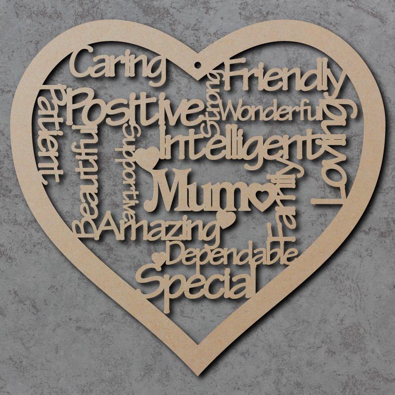 Mum Heart Words Craft Sign