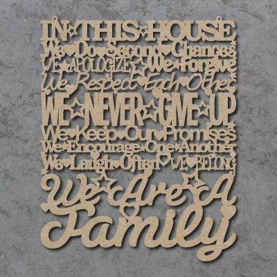 In This House We Are A Family Sign