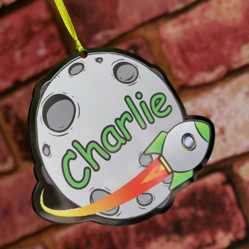 Personalised Printed Space Rocket Name Plaques