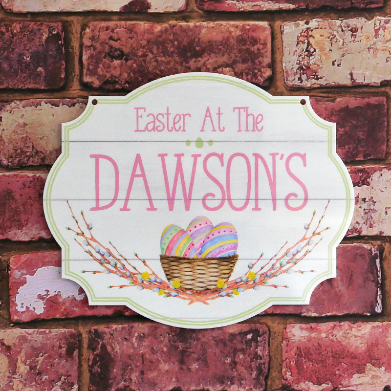 Personalised Printed Easter At The Family Plaques