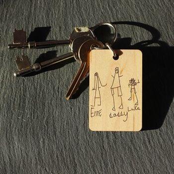 Child's Drawing Personalised Keyring / Tag