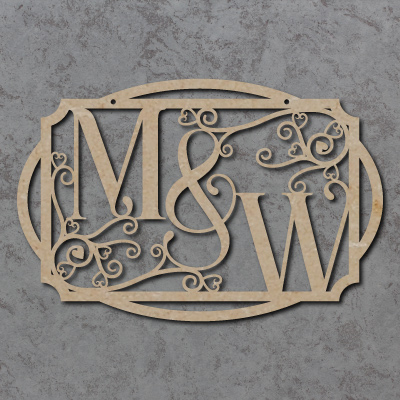 Personalised Initials (Swirls and Hearts) Craft Sign