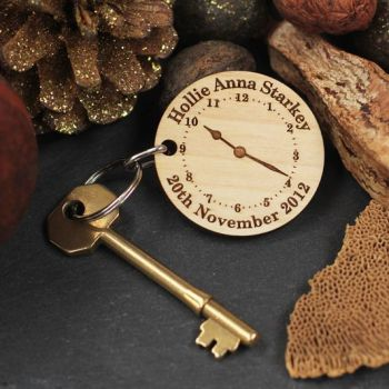Clock Personalised Reminder Keyring