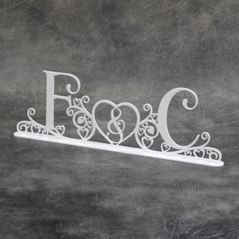 Wedding Initials (Swirls & Hearts) Freestanding Acrylic Centerpiece