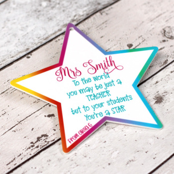 "Personalised ""Star Teacher"" Printed Teacher Plaque"