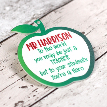 "Personalised ""Hero Teacher"" Printed Teacher Apple"