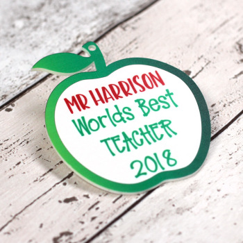 "Personalised ""Worlds Best"" Printed Teacher Apple"