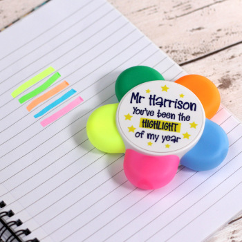 """You've been the highlight of my year"" Personalised Teacher Highlighter Flower Pen"