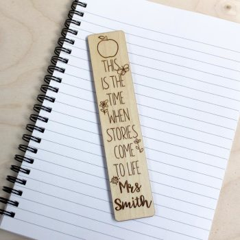 "Wooden Teacher Bookmark - ""Stories Come To Life"" Personalised Gift"