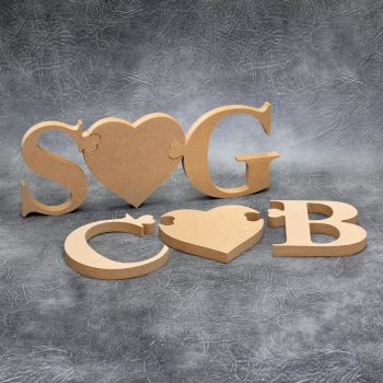 Jigsaw Heart Initials - 18mm Thick