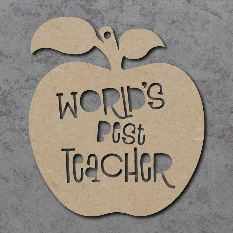 Worlds Best Teacher Cutout Apple