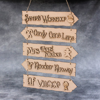 Christmas Directions Hanging Sign
