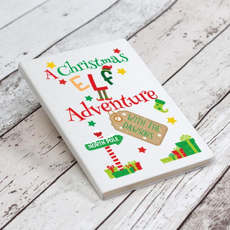 A Christmas Elf Adventure Personalised Notebook - White