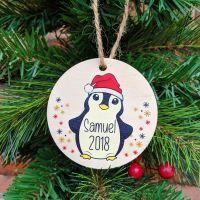 Personalised Printed Penguin Bauble