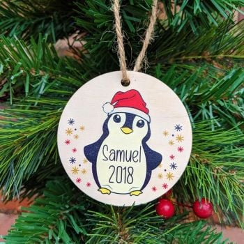 Personalised Printed Penguin Bauble