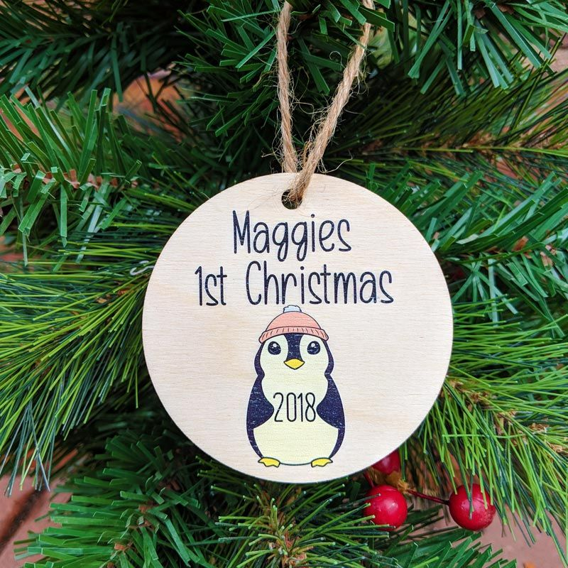 Personalised Printed Baby Girl Penguin 1st Christmas Bauble