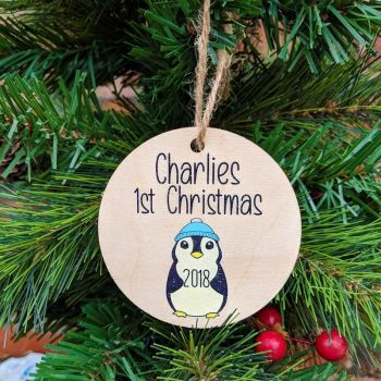 Personalised Printed Baby Boy Penguin 1st Christmas Bauble