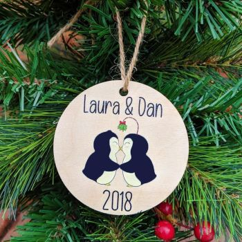 Personalised Printed Kissing Penguins Bauble