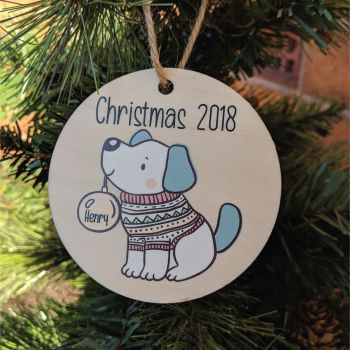 Personalised Printed Dog Bauble (holding bauble) girl / boy