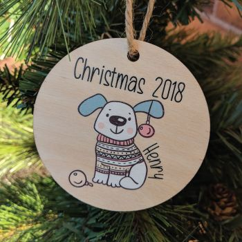 Personalised Printed Dog Bauble girl/boy