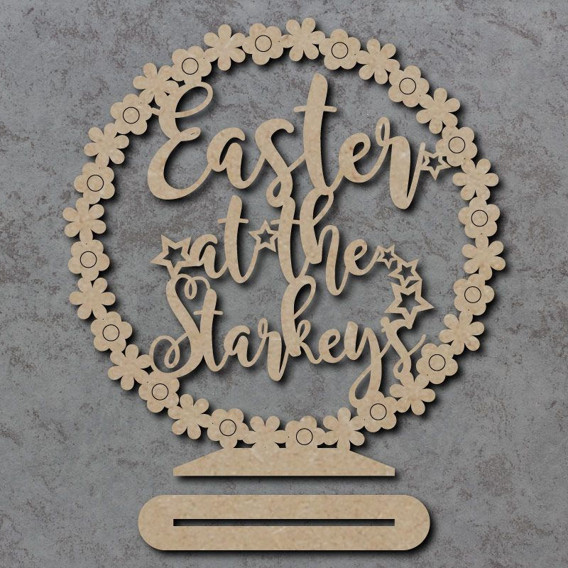 Freestanding 'Easter at the' Flower Circle Sign