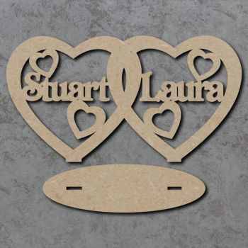 Freestanding Personalised Linked Hearts Sign