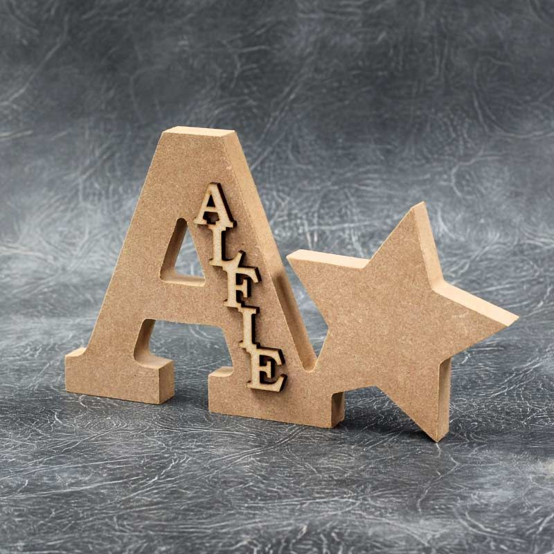 Personalised Freestanding Letter and Star with Word  - 18mm Thick