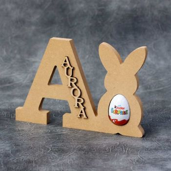 Personalised Freestanding Letter and Bunny Kinder Egg Holder  - 18mm Thick