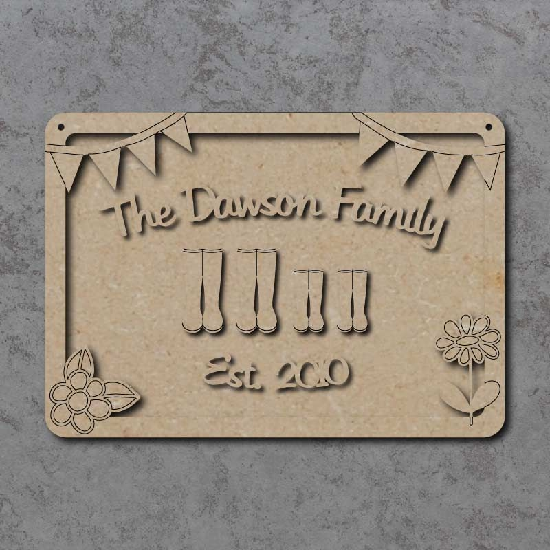Personalised Family Wellies Plaque