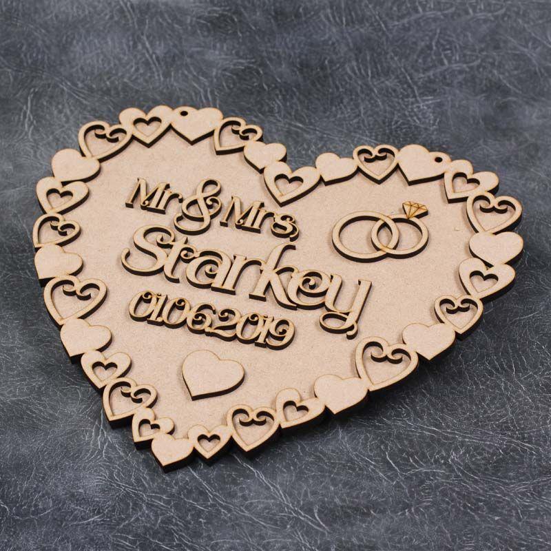 Mr & Mrs Heart Frame Wedding Plaque